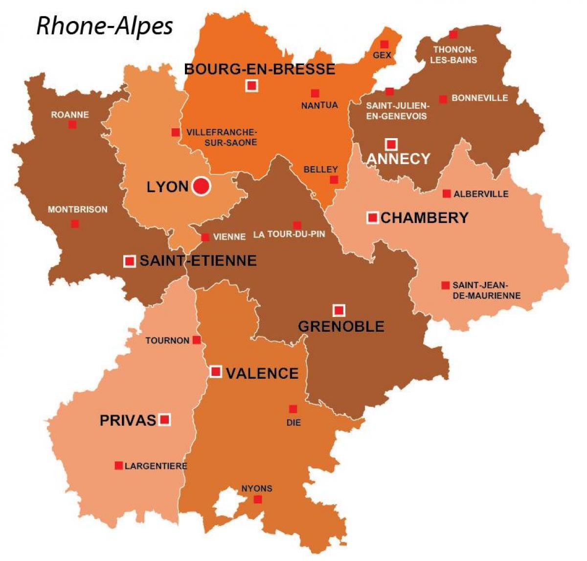Lyon Karta Regija Lyon Podrucje Karta Francuske Auvergne Rhone